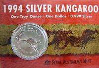 1994 KANGAROO SILVER 1oz Coin Carded