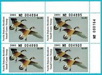 ND20 MNH, 2001 North Dakota State Duck Stamp Plate Block