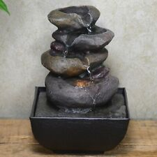 Rock Pile Indoor Water Fountain With LED Light Home Decor Gift H18cm 40325