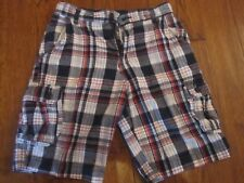 BOYS FADY GLORY CARGO SHORTS SIZE 14 RED WHITE BLUE STRIPES GREAT CONDITION