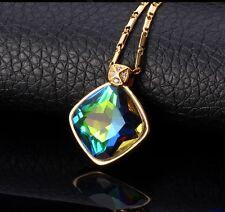 Damen Halskette 18K Gelbgold Gefüllt glänzend Mystische Regenbogen Topas NEU