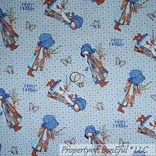 BonEful Fabric FQ Cotton Quilt VTG Blue Holly Hobbie Dress Bonnet Girl Butterfly