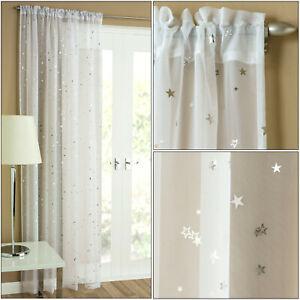 Starlight Moon Stars Metallic Sparkle Voile Thin Curtain Slot Top Single Panel
