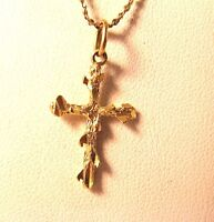 14K Gold Cross Pendant Nugget Style with Tree of life  20mm x 14mm CharmVINTAGE