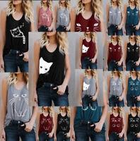 Women Cat Print Summer Vest TopS Sleeveless Shirt Blouse Casual Tank Top T-Shirt