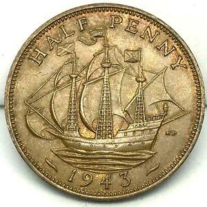 1943 GREAT BRITAIN 1/2 PENNY - Excellent Vintage Coin - BARGAIN UNC. KM# 844