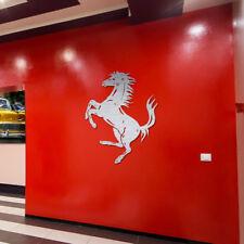 Ferrari Sign Garage Prancing Horse Brushed Silver Aluminum Gift Logo 2 feet tall