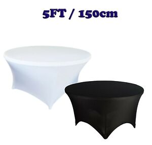 5FT / 150cm Black White ROUND TABLE COVER SPANDEX Stretch Wedding Party Buffet