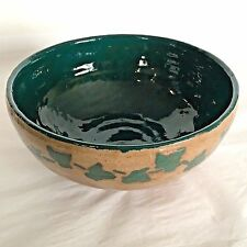 Studio Art Pottery Stoneware Serving Bowl Mixing Dish Brown Green Leaf Rustic