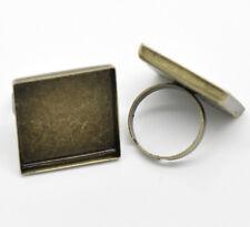 lot de 2 supports de bague réglable bronze pour cabochon 25x25 mm