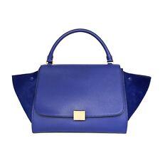 57267b32d2 Celine Indigo Blue Suede   Leather Medium Trapeze Bag RRP 3