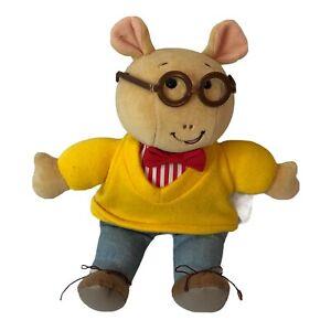 "Arthur W/Glasses Plush Doll 9"" Toy Eden Brand Bow Tie Gold Shirt Denim Pant 1995"