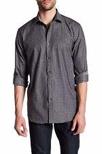 BUGATCHI Classic Fit L/S Woven Shirt in Graphite Sz.Medium NWT $179