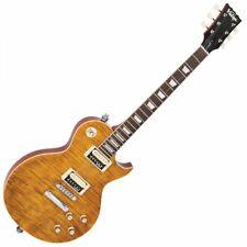 Vintage V100AFD Reissued Electric Guitar - Flamed Amber