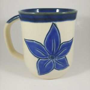 HANDMADE Signed Blue Flower Embossed Coffee Mug Cup Large Handle Oversized 18oz