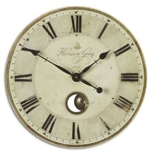 FRENCH COUNTRY WEATHERED IVORY HARRISON GRAY PENDULUM WALL CLOCK 23""