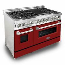 "Zline 48"" Dual Fuel Stainless Range Oven Gas Electric Red Matte Door Ra-Rm-48"