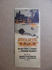 1917 Swartz Electric Light Lighting Power Plant Catalog Speedway Indiana Antique