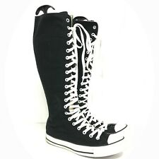 Converse Shoes Trainers Size UK 7 Knee High Black White Lace Up Women's 341101