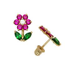 Ruby Emerald Sapphire Birthstone Flower Stud Earrings Screw Back 14K Yellow Gold