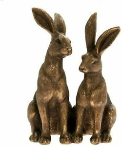 Reflections Bronzed Pair Hares Sitting Leonardo Ornament LP44095