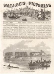 ROWING RACE, Huron & Volant, CHARLES RIVER, BOSTON, antique engraving, 1857