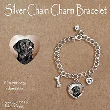Labrador Retriever Dog Black Adult - Charm Bracelet Silver Chain & Heart