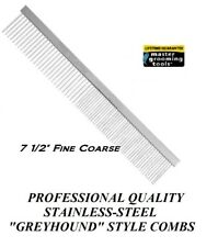 """MGT PRO STAINLESS STEEL 7.5"""" FINE/COARSE Greyhound Style COMB Dog Cat Grooming"""
