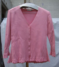 Country Casuals Beautiful Cardi Knitted Pink Long Sleeve Button Down Cardigan M