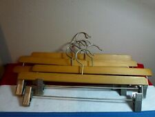 """12 Pants or Skirt Wooden Hangers with Strong Clips 14"""" Adjustable Excellent"""