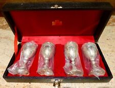 VINTAGE - SET OF 4 - SILVER PLATED - WINE / CORDIAL GOBLETS- 3 1/2 INCH - JAPAN
