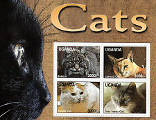 Uganda 2013 MNH Cats 4v M/S Pets Bobcat Caracal Cat Turkish Van Gray Tabby