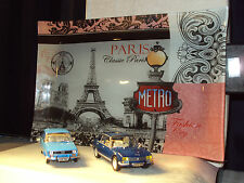 2 x 1:43 CARS RENAULT 12 PEUGEOT 504 INCL GLASS PARIS TRAY BACKDROP WITH LIGHT