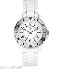 NEW G BY GUESS WHITE ACRYLIC RESIN TACHYMETER ANALOG WATCH-G69028L1