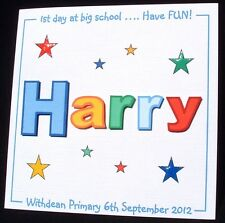 Personalised Handmade First 1st day at nursery, First 1st day at big school card