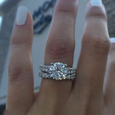 14K White Gold Over Round Diamond Engagement Wedding Band Bridal Ring Set