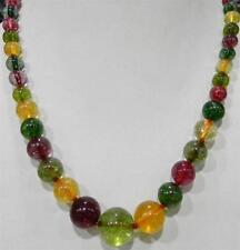 """6-12mm Multicolor Tourmaline Round Beads Necklace 18"""""""