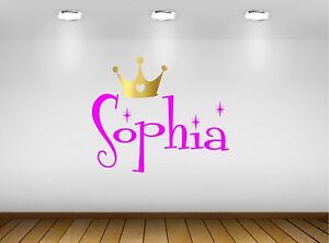 Girls personalised NAME Wall Sticker Decal With Princess Crown