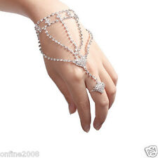 Fashion Women's Rhinestone Hand Bangle Chain Link Finger Ring Bracelet Jewelry