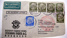 1936 Germany Luftpost to Bolivia via  Zeppelin Air Mail Cover w/ Strip Stamps