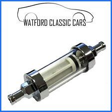 Washable inline chrome/glass fuel filter 3/8  MG,Triumph,Mini,Morris,Jaguar etc