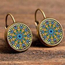 Ethnic Style Colourful Mandala Flower Round Dome Dangle Drop Earrings UK 289