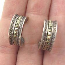 Vtg 925 Sterling Silver Real Marcasite Gemstone Half Hoop Earrings