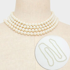60 inch Long Strand Pearl Necklace | 8mm Beads | White Color