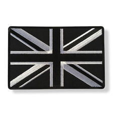 """Large 5"""" British UK Flag Black and White Sew or Iron on Patch Biker Patch"""