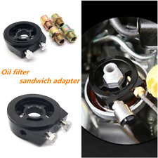 Oil Filter Sandwich Plate Adapter For Oil Temp Oil Pressure Gauge Sensor Black