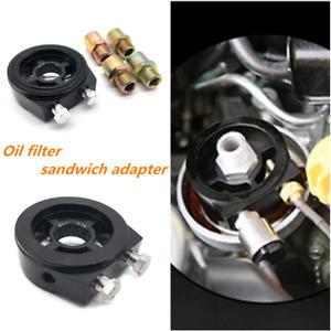 Oil Filter Sandwich Plate Adapter For Oil Temp Oil Pressure Gauge Sensor Black