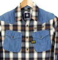 G-Star Raw Uomo Co Cowboy Camicia L/S Western Casual Top Taglia M KZ348