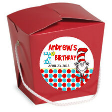 """Cat in the Hat Birthday Stickers 20ct - 2"""" Round Stickers Favor Labels PRINTED"""