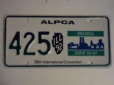 1992 ILLINOIS ALPCA License Plate Convention Souvenir Peoria IL 425